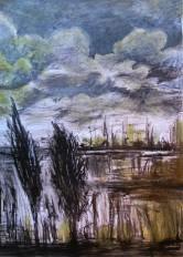 dessin au pastel et à la sève de plantes, réalisé en voiture 30minutes environ, jour de pluie - ©V.Champigny