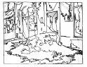 """""""Déconstruction du quartier"""" - 2009 - dessin au feutre sur toile - résidence d'artiste Peyrouat à Mont de Marsan - © V.Champigny"""