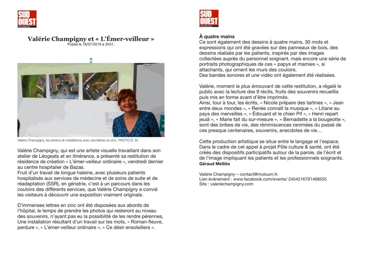Article restitution résidence de création au Centre Hospitalier de Bazas en Gériatrie